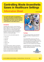 Waste Anaesthetic Gases Information Sheet front page preview