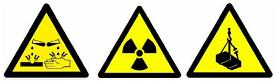Examples of yellow triangular warning signs including a Radioactivity warning sign.